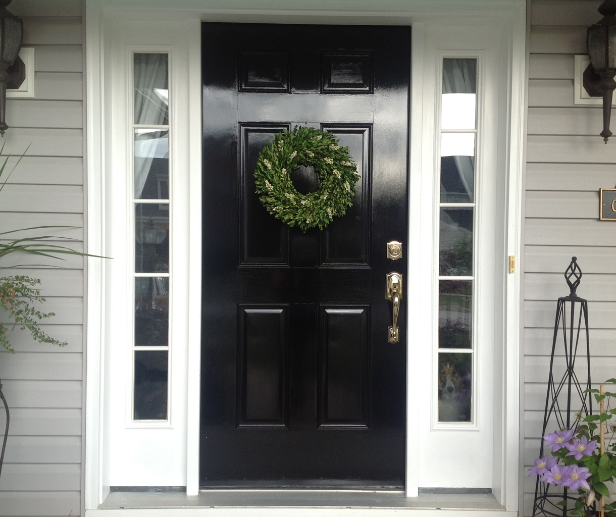 Repaint front door black add old school wood screen door Dark green front door paint